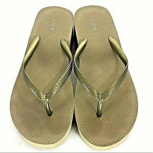 J Crew Flip Flops Wedge Platform Gold Women Size 7